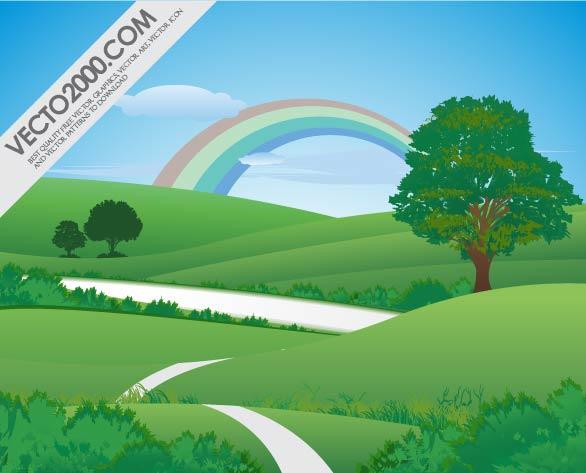 Free Vectors: Pure Green Landscape with Rainbow | Vecto2000