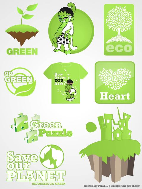 Free Vectors: Ecological Go Green Design Set | Phosil