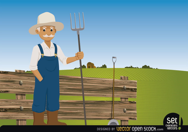 Free Farmer pitchfork on his farm