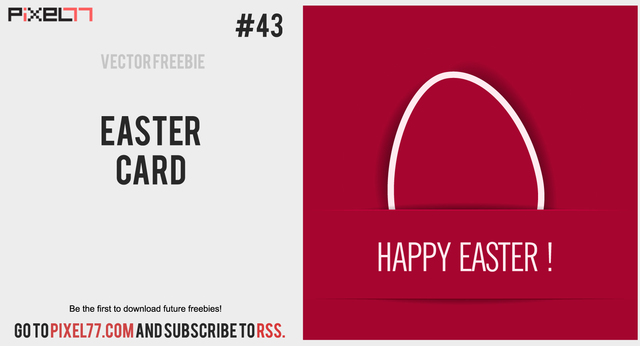 Free Red Flat Easter Card