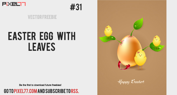 Free Easter Egg with Leaves and Chicks