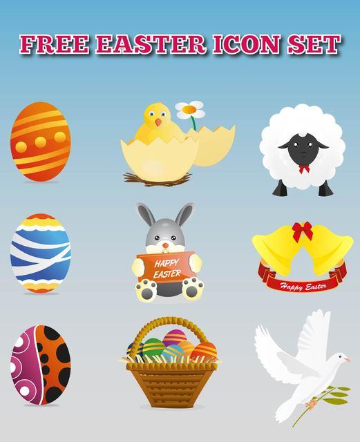 Free Vectors: Colorful Easter Decoration Icon Set | White Noise