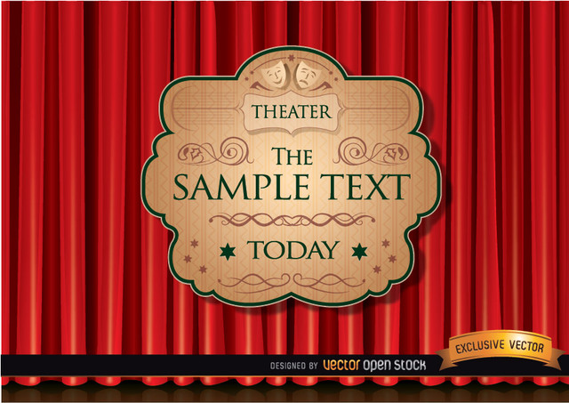 Free Theater ad with red curtain