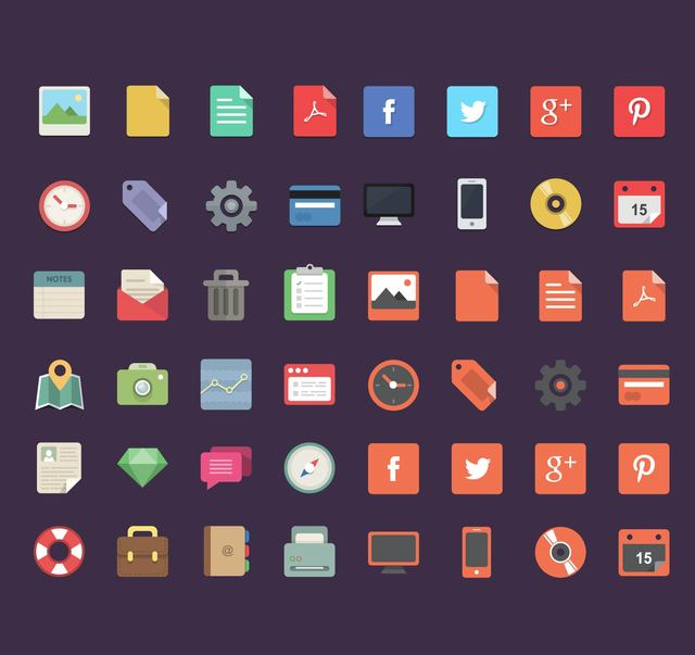 Free Flat 48 Office, Social and Travel Icons