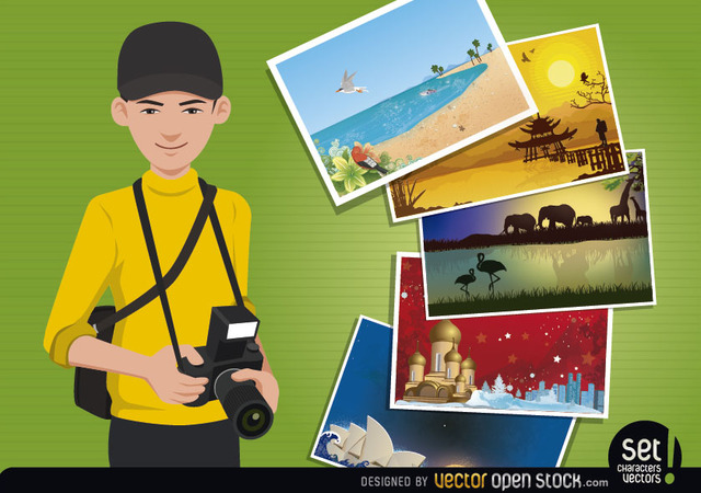 Free Vectors: Travel Photographer Concept | Cities | Vector Open Stock