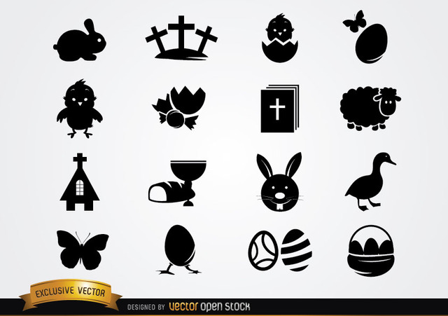 Free Cute Easter Icon Pack Silhouette