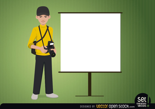 Free Photographer with a Presentation Screen
