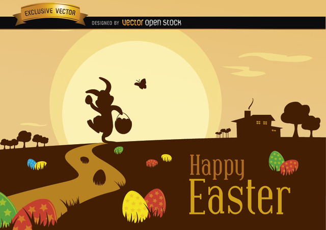 Free Vectors: Easter Scene with Silhouette Landscape | Vector Open Stock