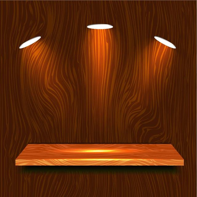 Free Realistic Wooden Shelf with Lights
