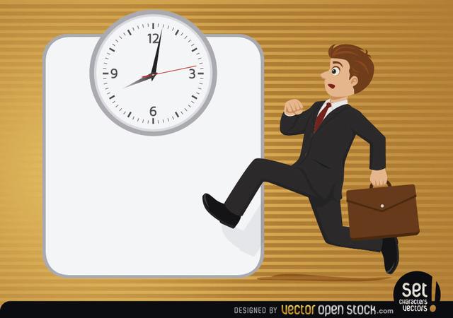 Free Vectors: Executive running with clock | Vector Open Stock