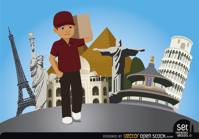 Free Delivery man with world monuments