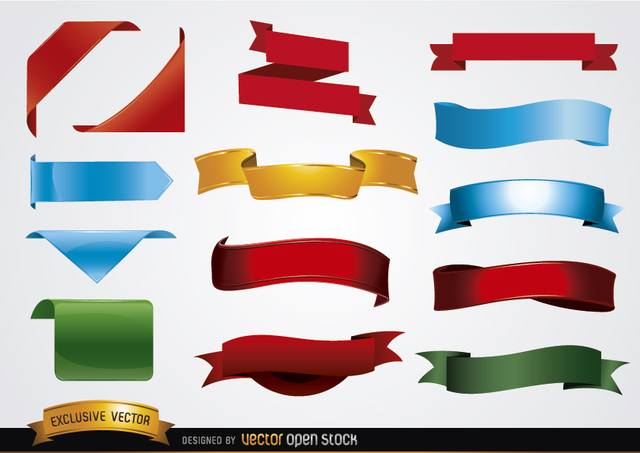 Free Colored banner shapes