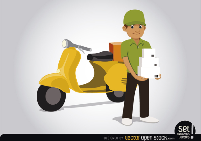 Free Delivery man with motorcycle