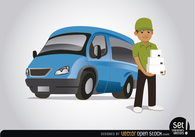 Free Delivery character with blue van