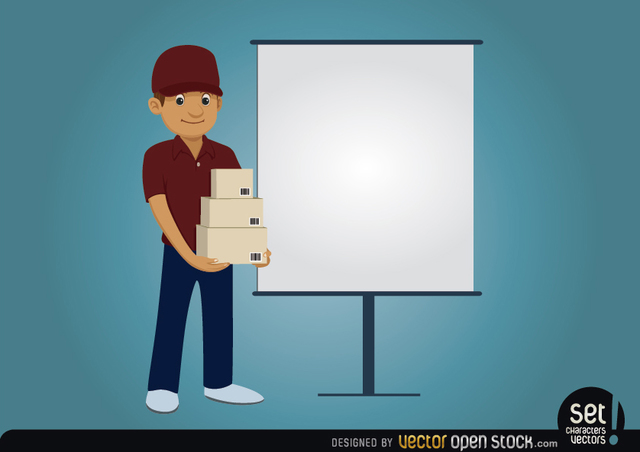 Free Vectors: Delivery character with presentation screen | Vector Open Stock