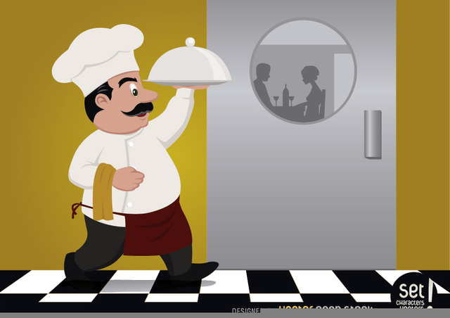 Free Vectors: Chef serving food for couple | Vector Open Stock