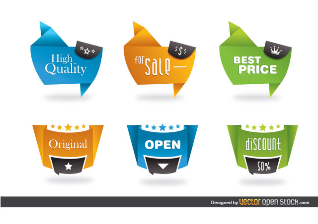 Free Vectors: Modern origami style labels | Vector Open Stock