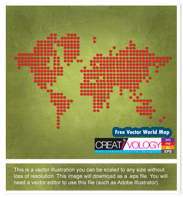 Free Red Pixilated World Map