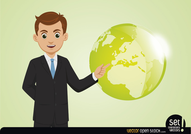 Free Young Businessman Showing Globe