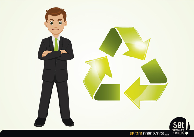 Free Businessman with Cyclic Arrow Beside