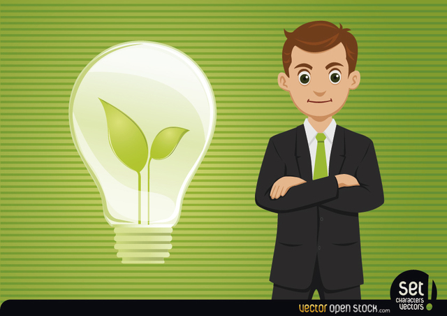 Free Businessman with Fresh Idea Light Bulb