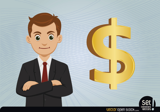 Free Young Businessman with Dollar Sign
