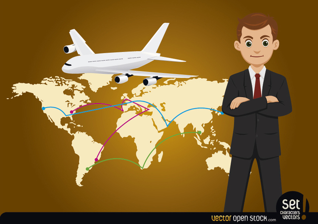 Free Businessman with Global Map and Airplane