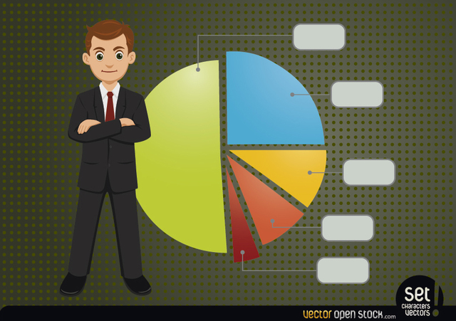 Free Young Businessman with Infographic Pie Chart