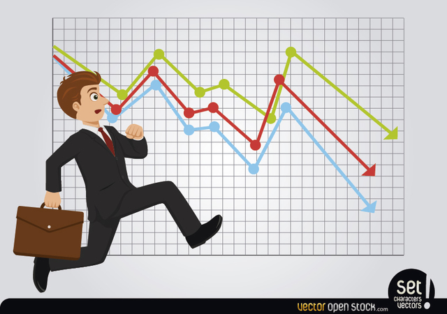Free Late Running Businessman with Losses Chart
