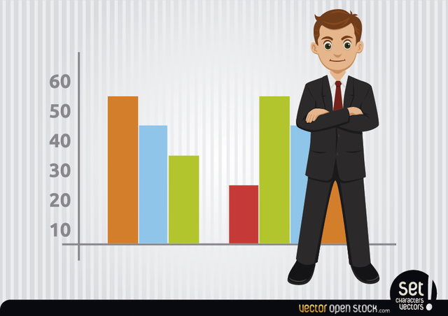 Free Vectors: Businessman with colourful charts | Vector Open Stock