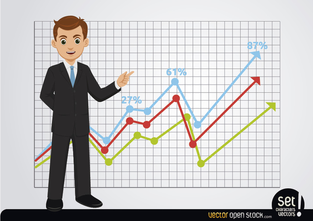 Free Businessman showing growing charts