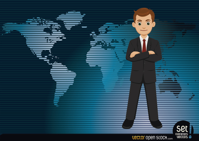 Free Businessman with a worldmap Background