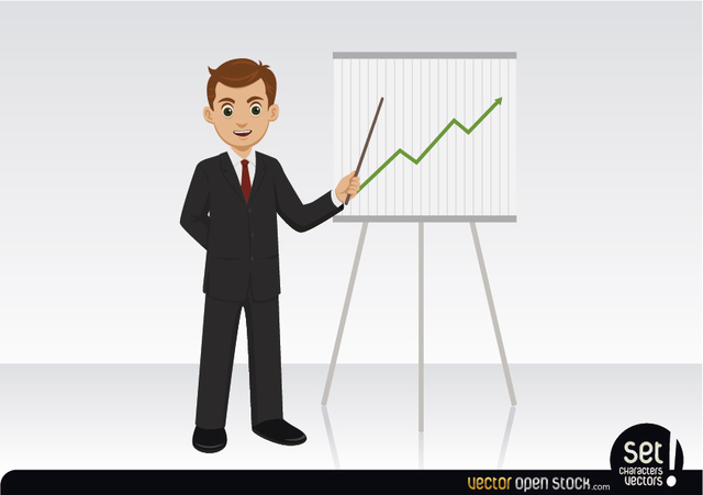 Free Businessman showing a growing graphic