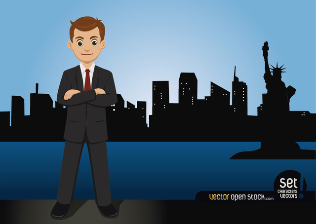 Free Businessman Standing on the New York Skyline