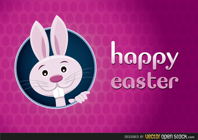 Free Happy Easter Greeting Card with Rabbit