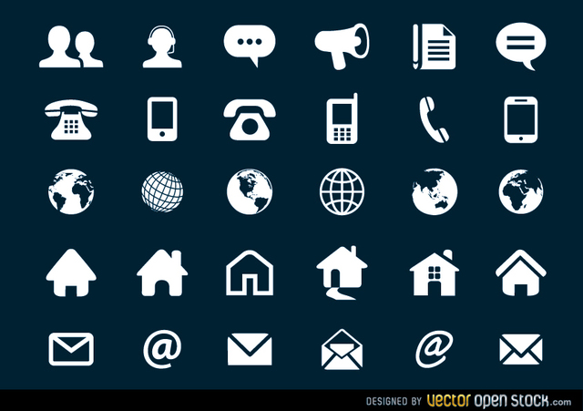 Free Contact Flat Icons Set