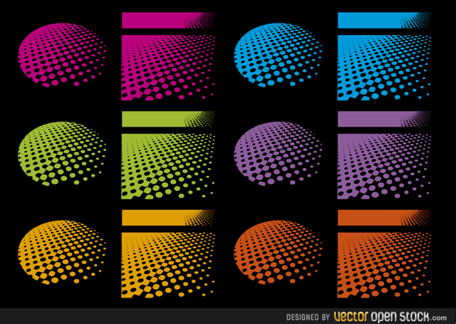 Free Halftone designs in several colours