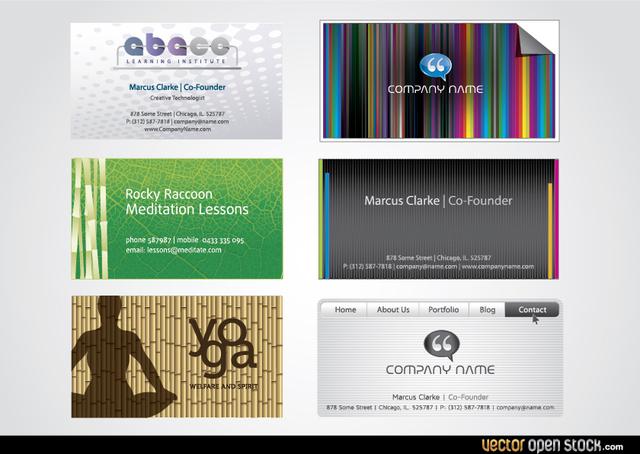 Free Vectors: Six Modern business card templates | Vector Open Stock
