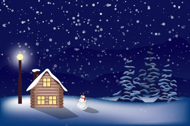 Free Vectors: Snowy Christmas Landscape | Great