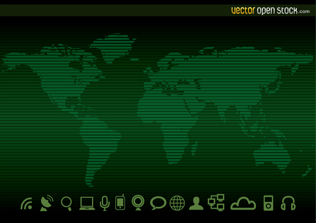Free Technology worldmap Background and Icons