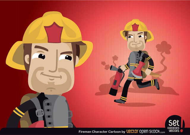 Free Fireman Cartoon Character