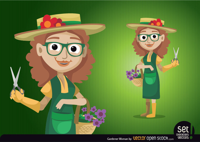 Free Vectors: Gardener Woman Character | Vector Open Stock