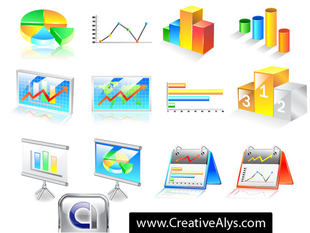 Free 3D Business Chart Icon Pack