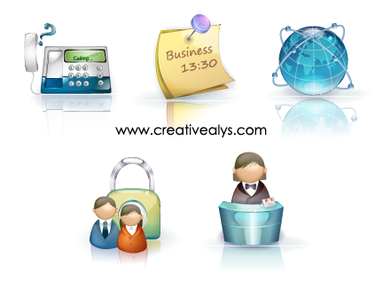 Free Glossy Beautiful 3D Business Icons