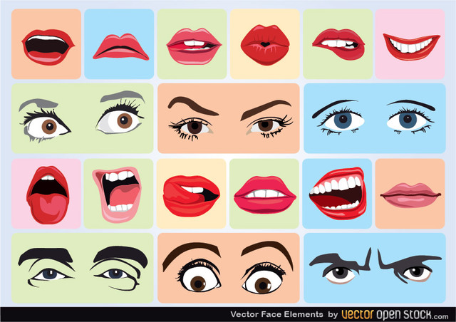 Free Vectors: Vector Face Elements | Vector Open Stock