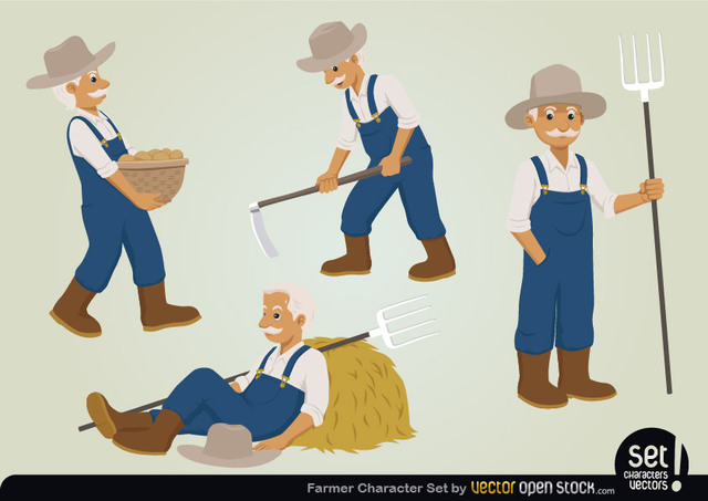 Free Vectors: Farmer Character Set | Vector Open Stock