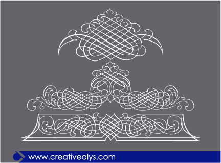 Free 3 Calligraphic Line Art Ornaments
