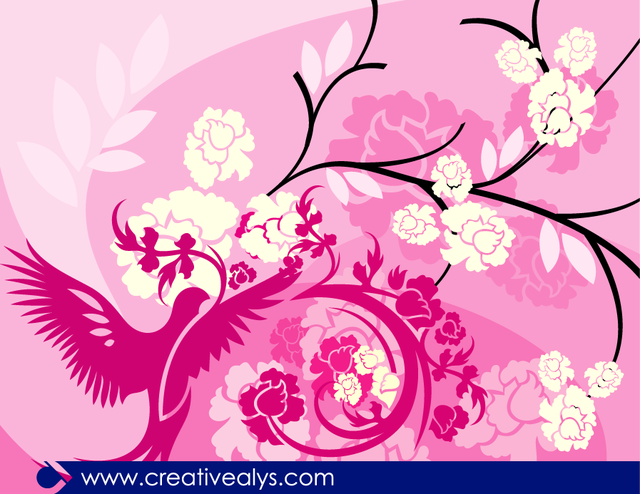Free Floral Pinkish Background with Bird