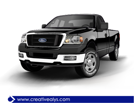 Free Ford Realistic Black Pickup Truck