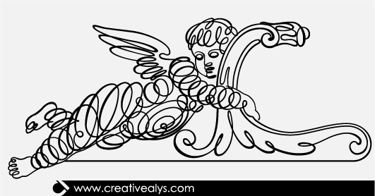 Free Winged Kid Calligraphic Line Art